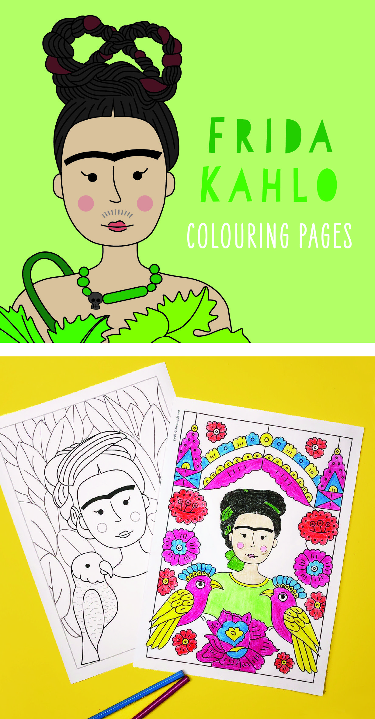 Frida Kahlo coloring pages for kids. They recreate her famous ...