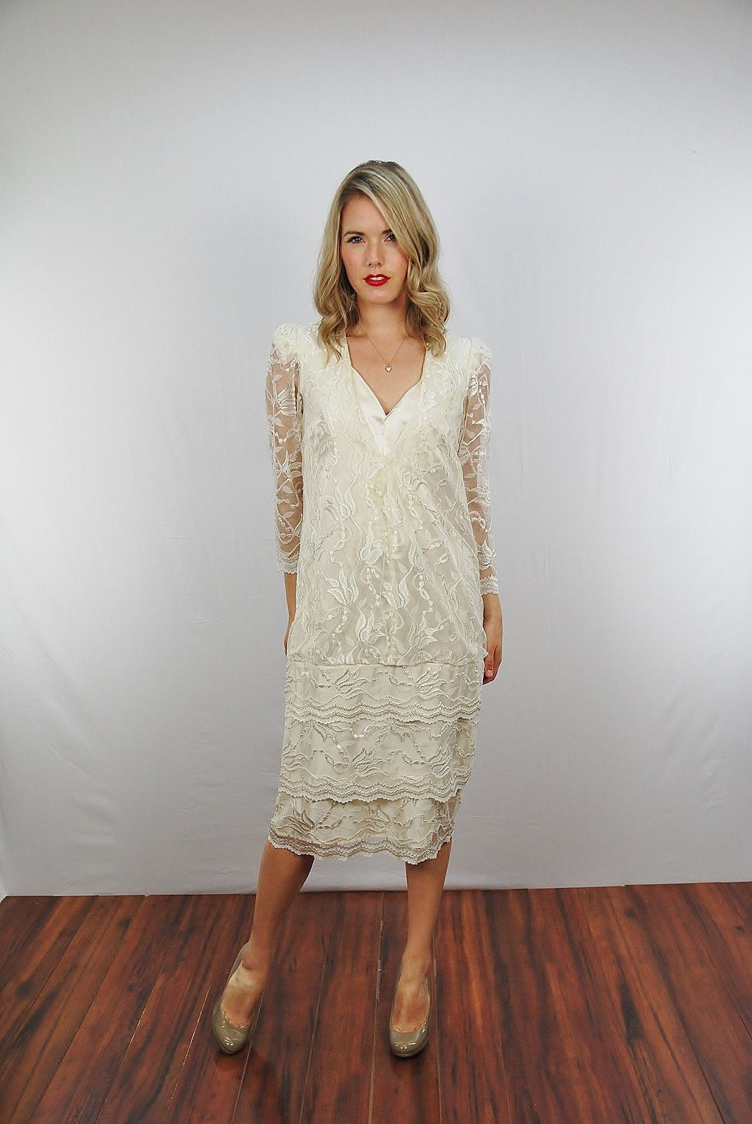 Vtg s s white floral lace plunging midi wedding boho tiered