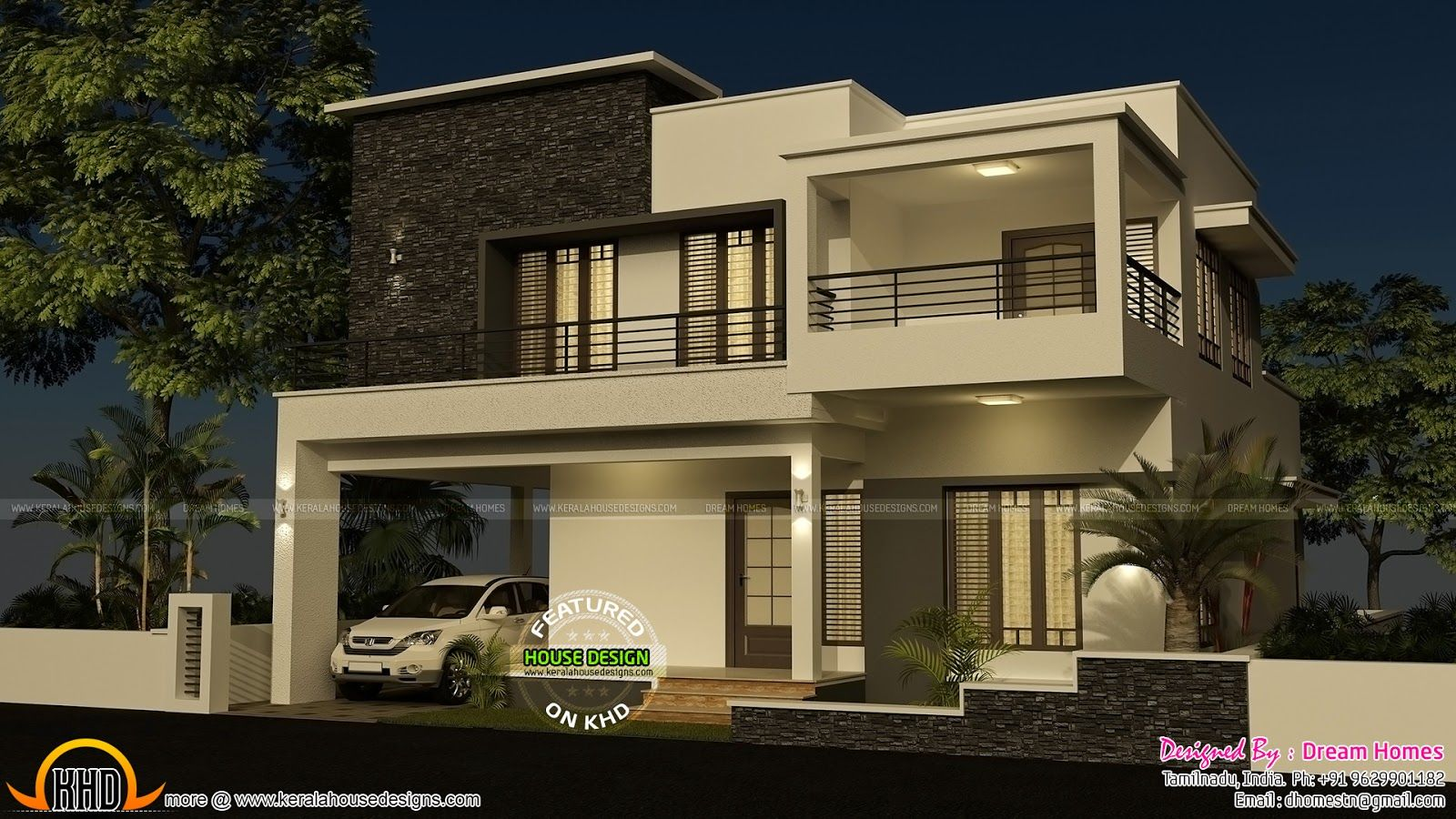 House elevation flat roof real estate pinterest for Bedroom designs tamilnadu