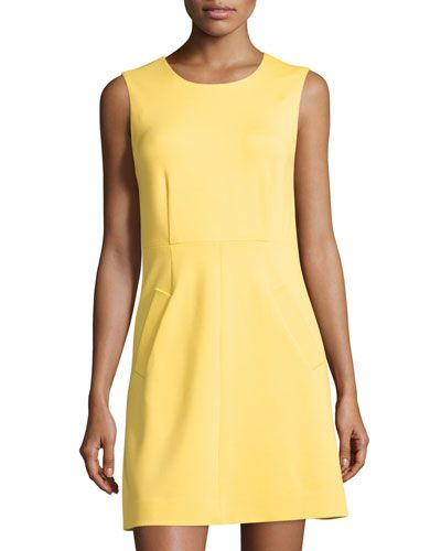 DIANE VON FURSTENBERG Capreena Sleeveless A-Line Ponte Mini Dress, Sun. #dianevonfurstenberg #cloth #dress