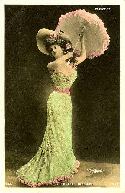 Arlette Dorgere Parasol ~ Vintage Postcard