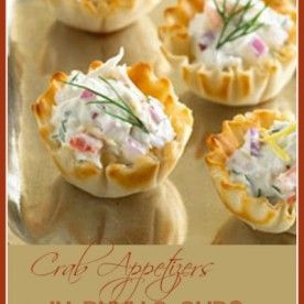 Crab Appetizers in phyllo pastry cups.