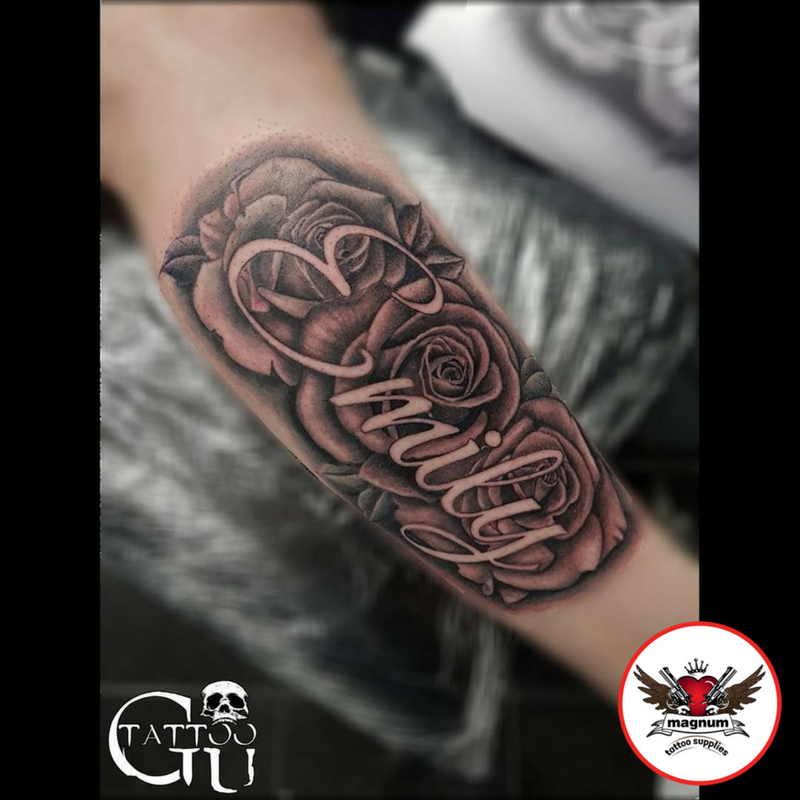 Classic Roses With Emily Name Piece Done By Gavin Underhill Rose Tattoo With Name Name Tattoo Designs Rose Tattoos For Men