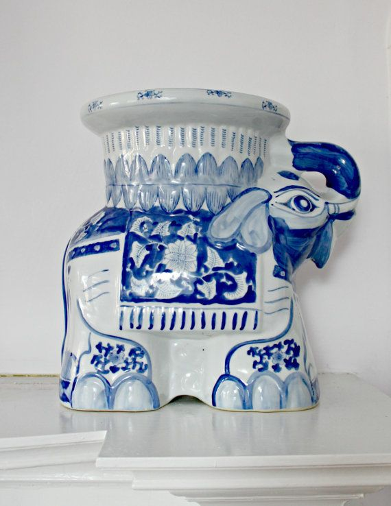 Vintage Blue And White Ceramic Elephant Plant By 702parkproject