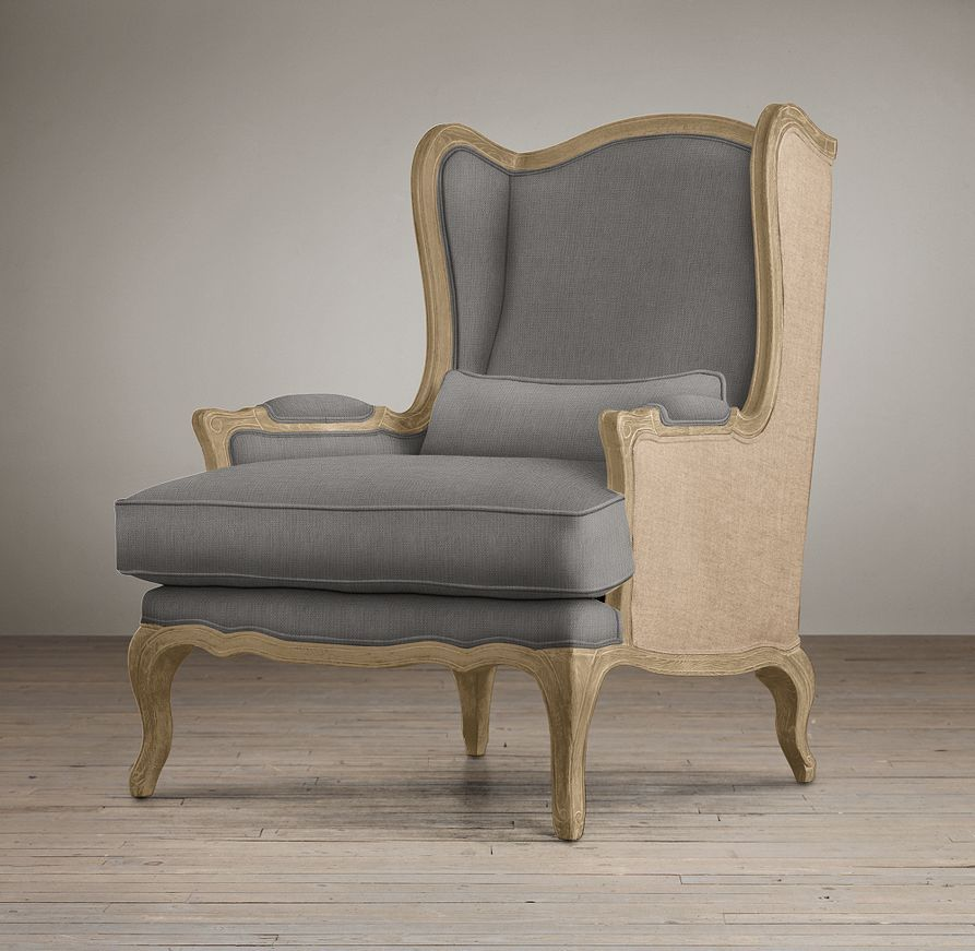 lorraine chair with burlap chairs restoration hardware. Black Bedroom Furniture Sets. Home Design Ideas