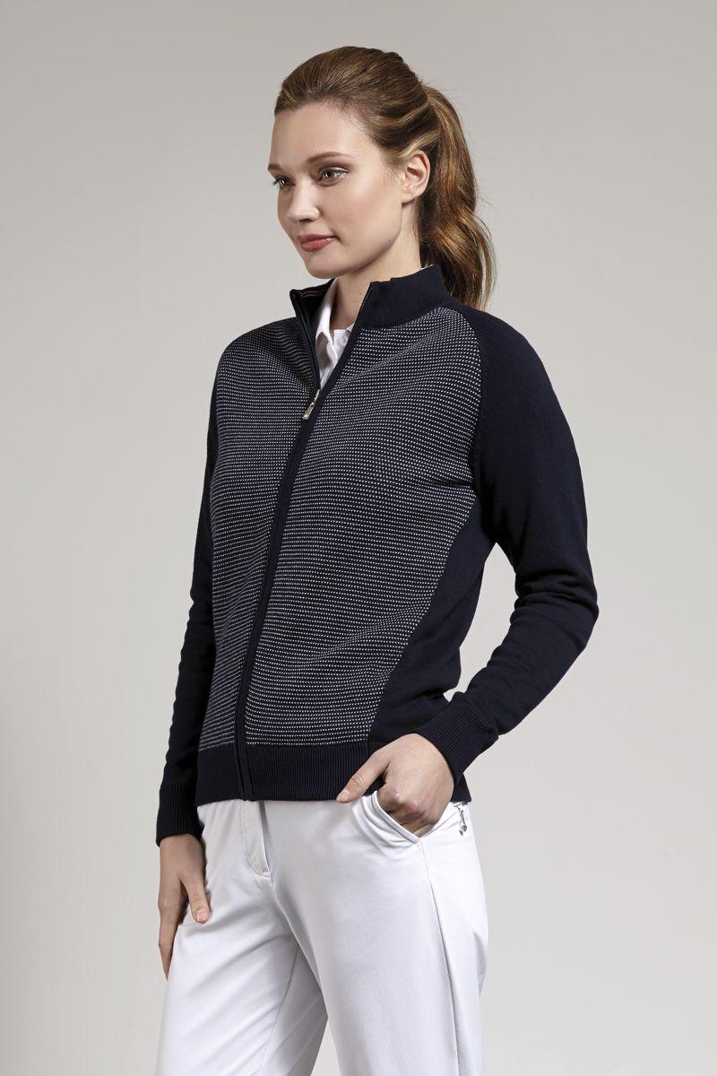Ladies Cotton Birdseye Lined Zip Front Cardigan | Glenmuir Ladies ...