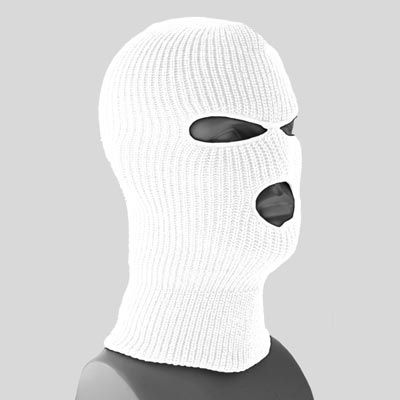 Superstretch White Full Face Ski Mask - Single Piece - Made in USA 386e48275a0