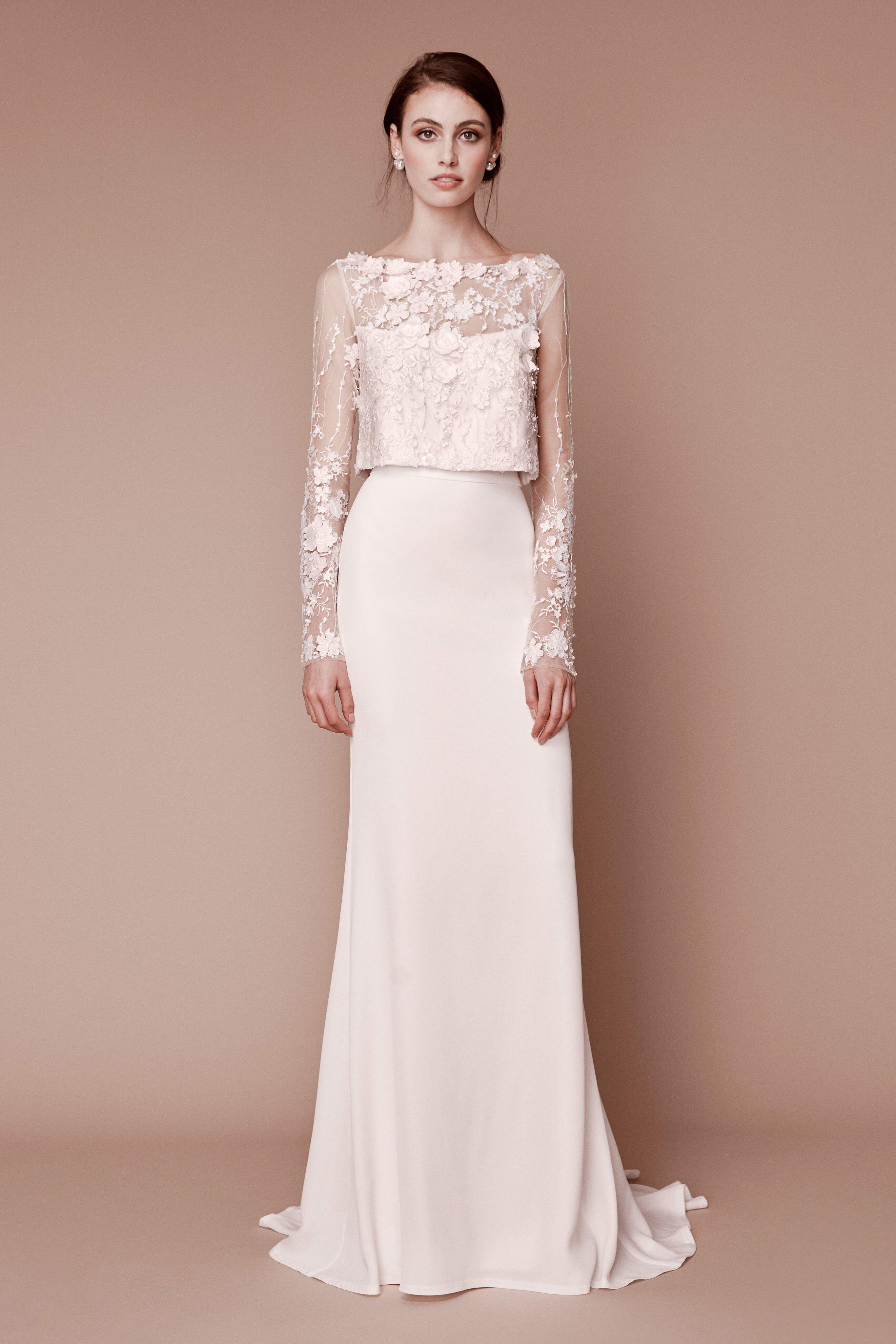 Lace wedding dress ivory january 2019 Tadashi Shoji Fall  Bridal Fashion Show Collection See the