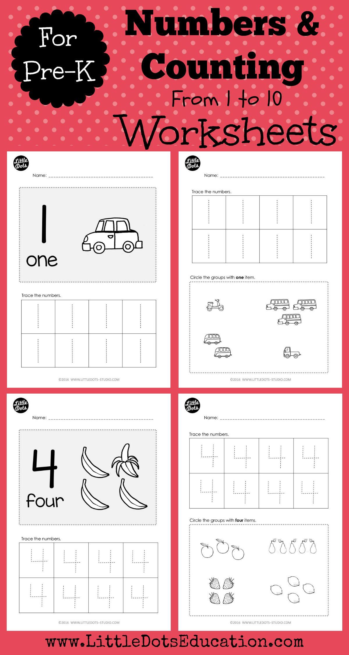 Pre-K Numbers 1 to 10 Worksheets and Activities   Counting activities  preschool [ 2250 x 1200 Pixel ]