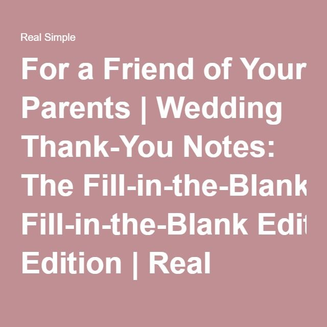 Wedding Thank-You Notes The Fill-in-the-Blank Edition Nota - thank you note to friend