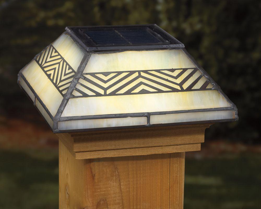 Chevron solar post cap solar post caps deck lighting