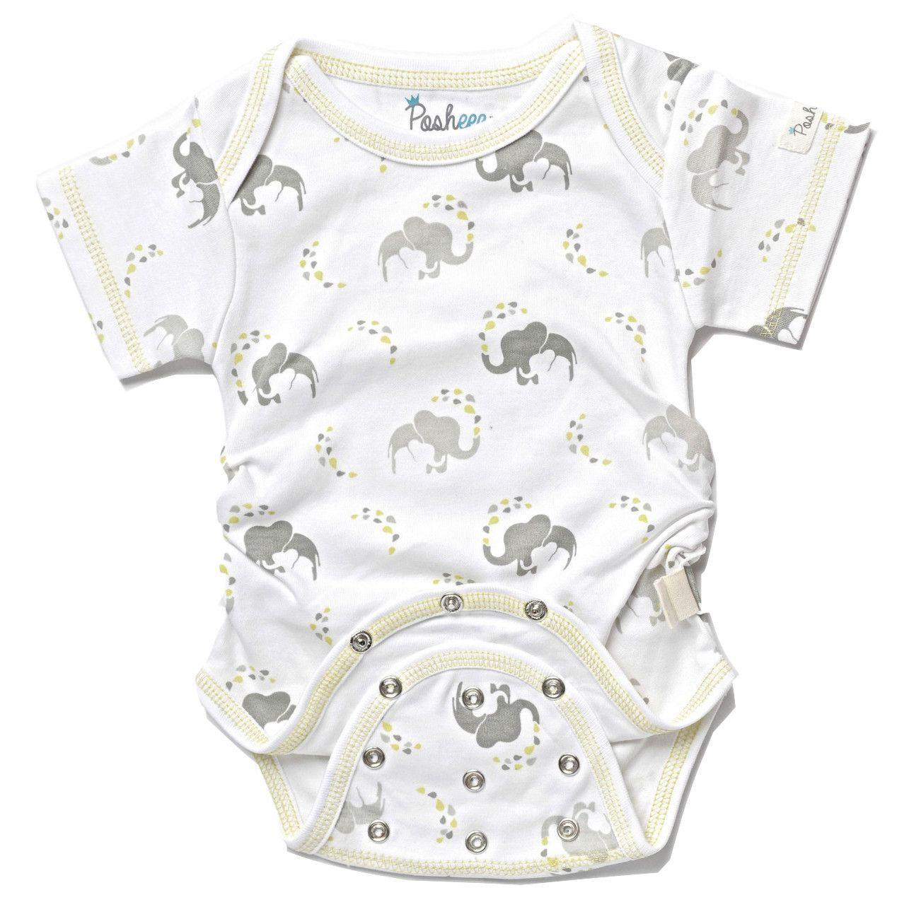 Posheez Snap'n Grow Organic Cotton Adjustable Baby Bodysuit - Elephant Print - Short Sleeve. Any Size, Any Shape ... Perfect Fit! Posheez Fit!