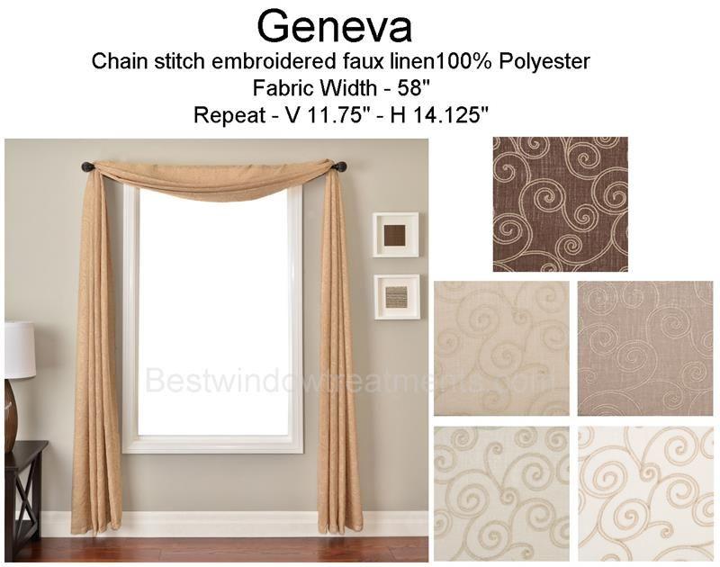 Geneva Scroll Faux Linen Scarf Swag Window Topper Window Toppers