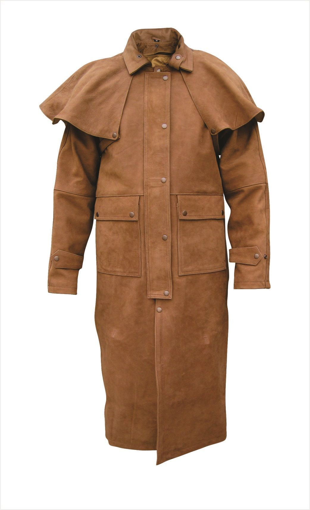 Mens Brown Leather Duster with Leg Straps, ZipOut Liner