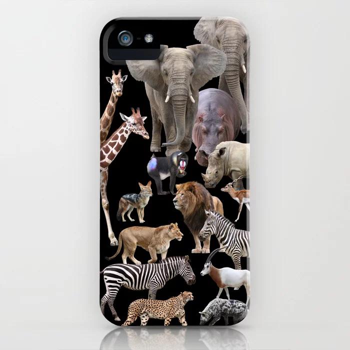 Photo of African Animals_Black Hintergrund iPhone Hülle von dohshin – African Animals_Bl…