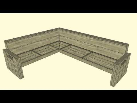 Loungebank maken gratis bouwtekening voor steigerhout