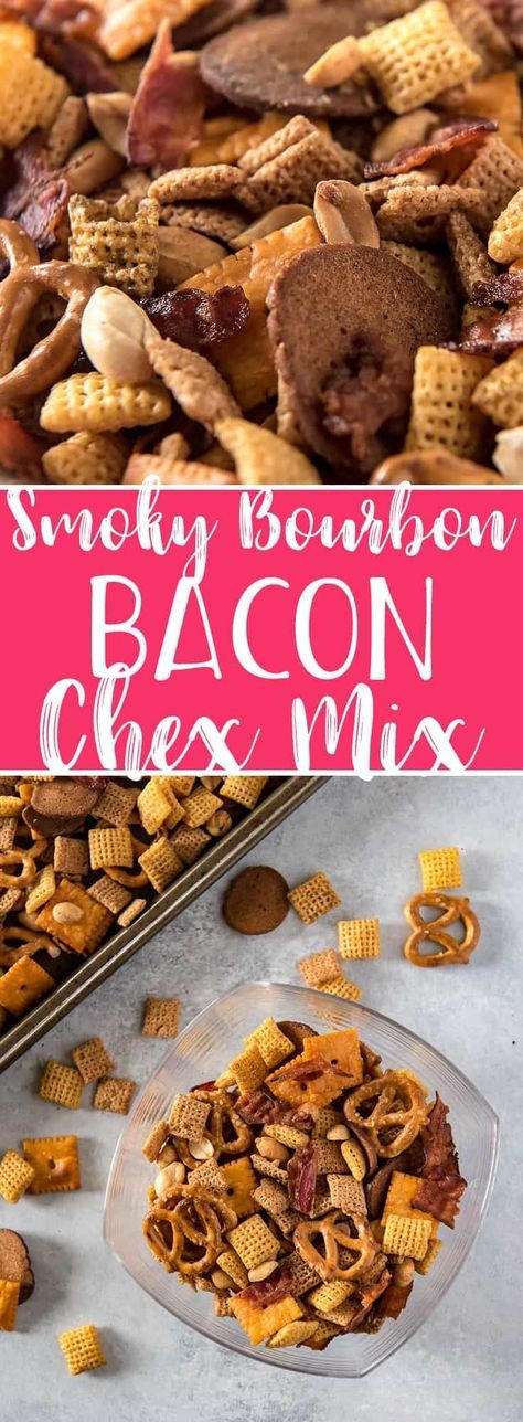 Smoky Bourbon Bacon Chex Mix | recipes | recipe | appetizers | apps | party food | parties | for a crowd | finger food | snacks | tailgate | game day | super bowl | low ingredient | easy | the easiest | quick | simple | make ahead | | boozy | #tailgatefoodmakeahead
