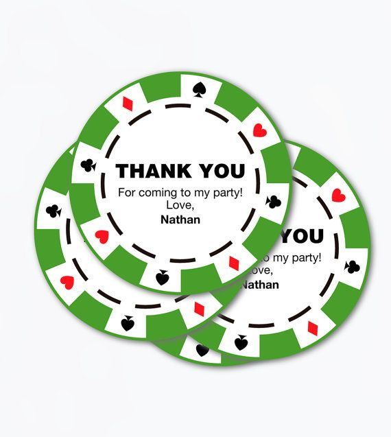 Poker Chips Printable Favour Tags For Casino Themed Party Thank You