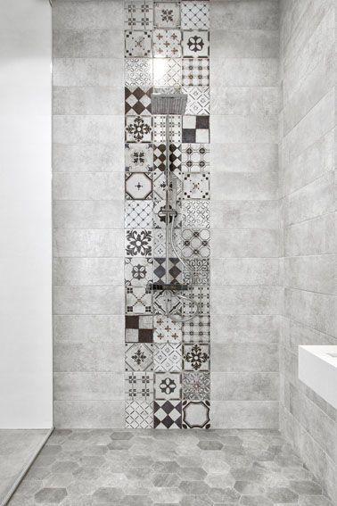 salle-de-bain-carreau-ciment | Idée salle de bain, Salle de ...