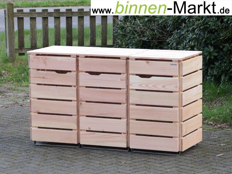 m lltonnenverkleidung 3er m lltonnenbox natur aus wetterfestem holz douglasie made in. Black Bedroom Furniture Sets. Home Design Ideas