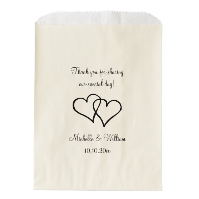 Double heart wedding thank you party favor bags | Zazzle ...