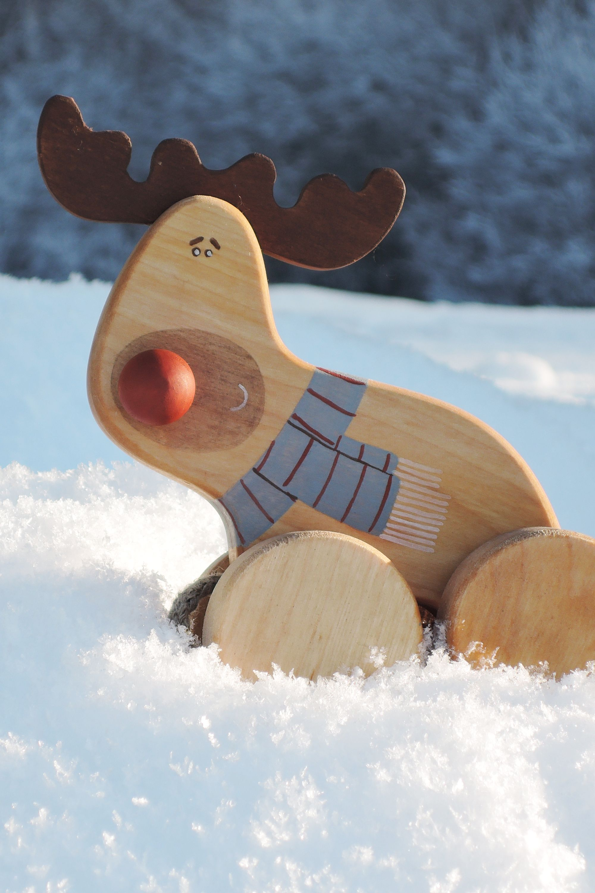 Wooden Deer Toy Wooden Pull Along Toy Our First Christmas