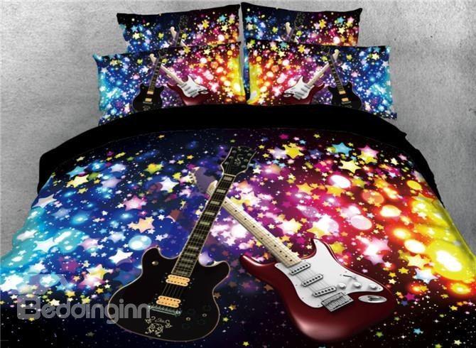 Onlwe 3D Sparkle Cool Guitar Printed 4 Piece Black Bedding Sets/Duvet Covers