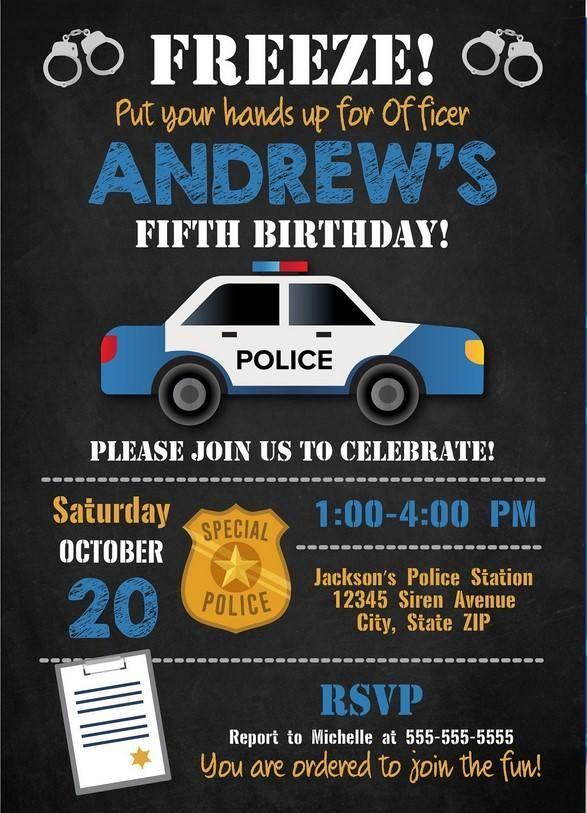 Get FREE Printable Police Birthday Invitation Template