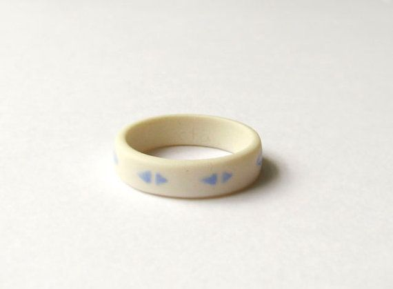 Blue Triangles Porcelain Ring By Cla Porcelain Jewelry Jewelry Unique Jewelry