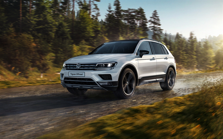 Download Wallpapers Volkswagen Tiguan Offroad 2018 White Crossover Exterior New White Tiguan German Cars Volkswagen Vo Volkswagen Car Wallpapers Vw Cars