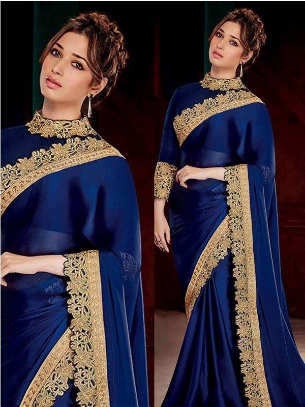 Navy Blue Color Satin Silk Saree