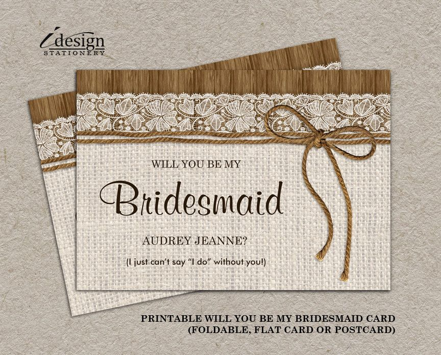 A printable rustic will you be my bridesmaid invitation card a printable rustic will you be my bridesmaid invitation card bridal party proposal cards by stopboris