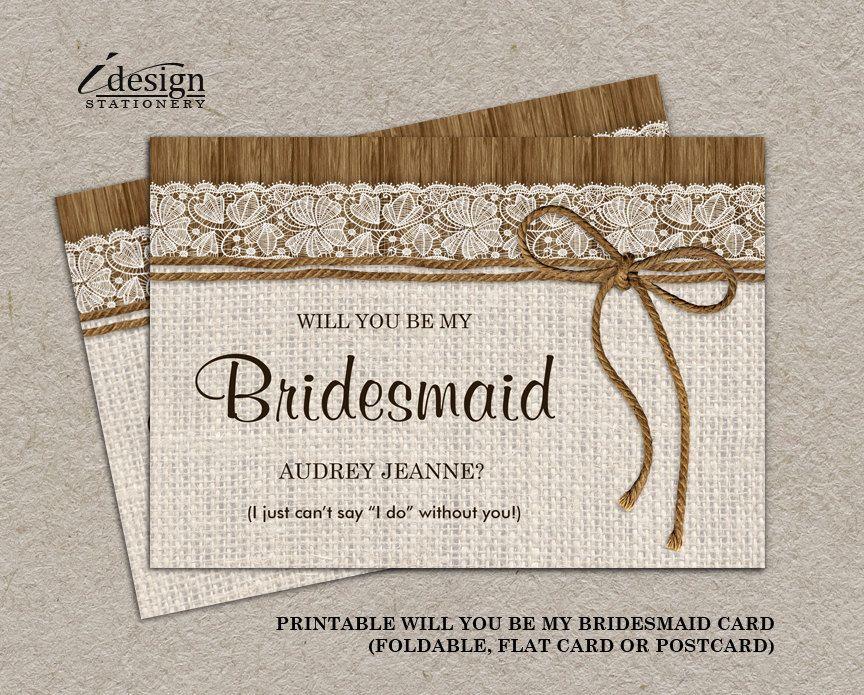 rustic will you be my bridesmaid invitation card diy printable