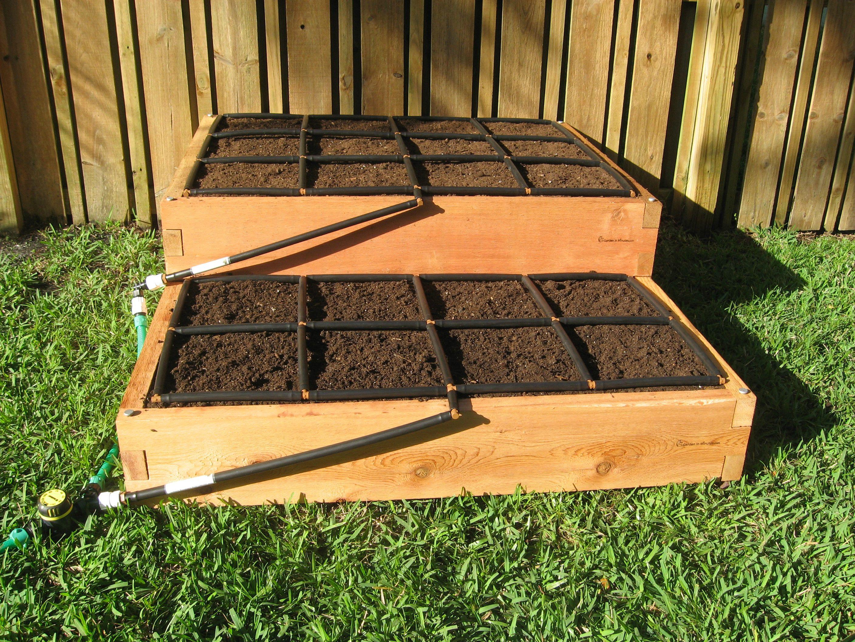4x5 Tiered Cedar Raised Garden Kit, irrigation system