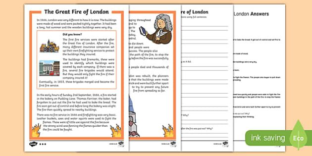 Ks1 Great Fire Of London Differentiated Reading Comprehension