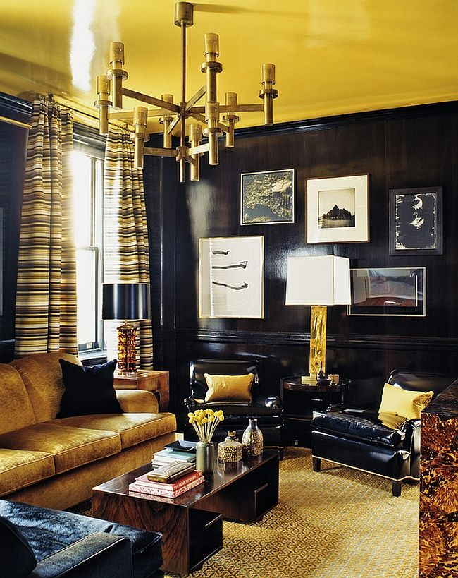 55 Incredible Masculine Living Room Design Ideas Inspirations Black Walls Living Room Gold Living Room Yellow Living Room