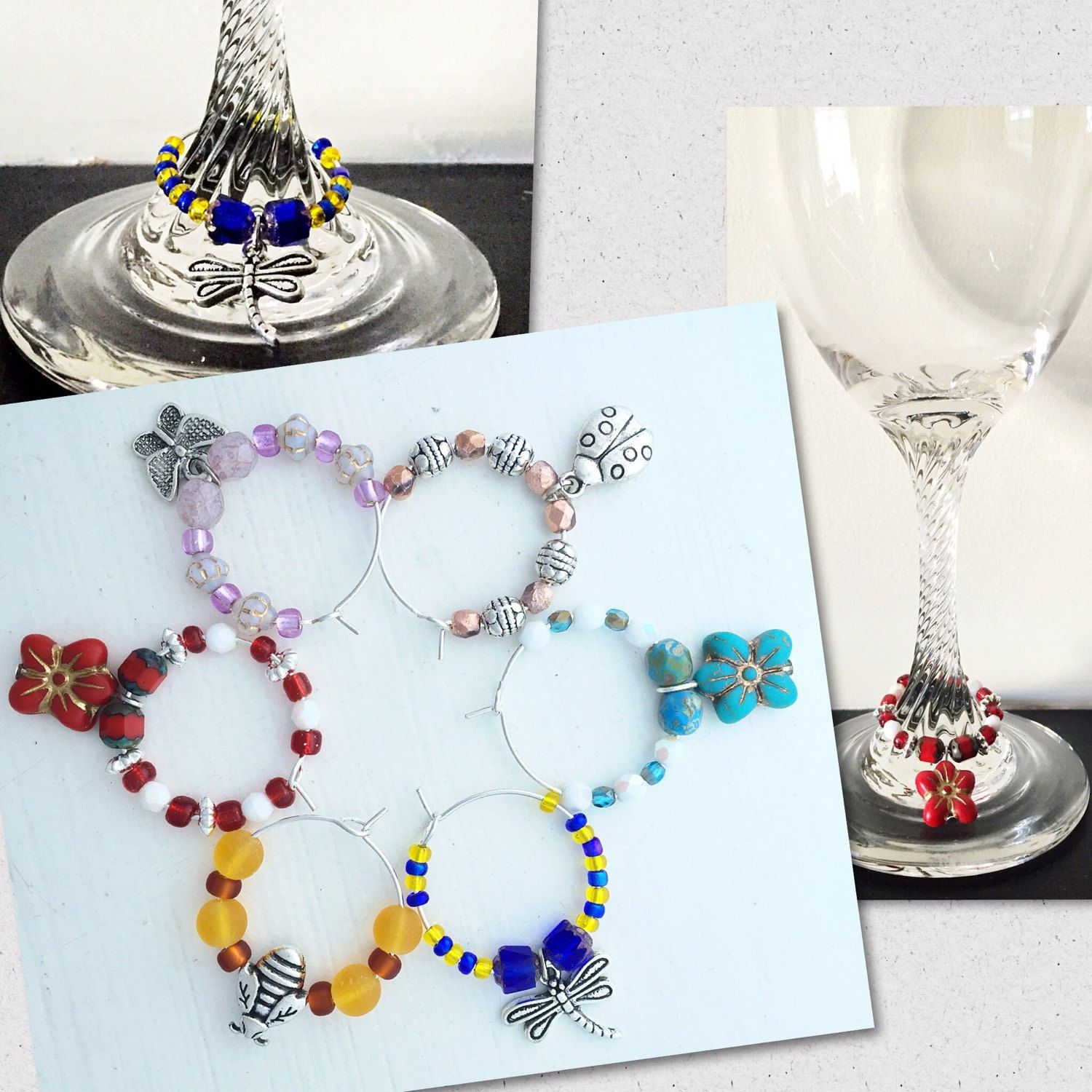 Whose wine glass is whose?  This question will never have to be asked at your dinner parties, if these pretty Czech glass charms are hanging from your glasses!