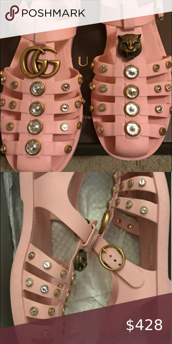 Gucci studded jellies sandals 38 pink