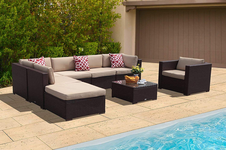 Patioroma Outdoor Patio Furniture Sectional Sofa Set 8 Piece Set