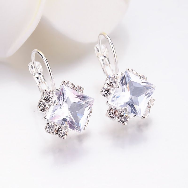 6bc3c1532 Fashion 2018 Stone Rhinestones girls White Square Crystal Drop Earrings For  Women Statement Wedding Jewelry Pendientes Mujer,#White#girls#Crystal