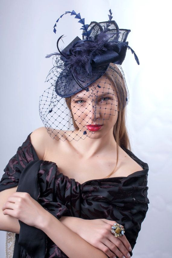 ef5d6cac0e2e6 Astonishing Navy blue veiled fascinator hat which can be worn at ...