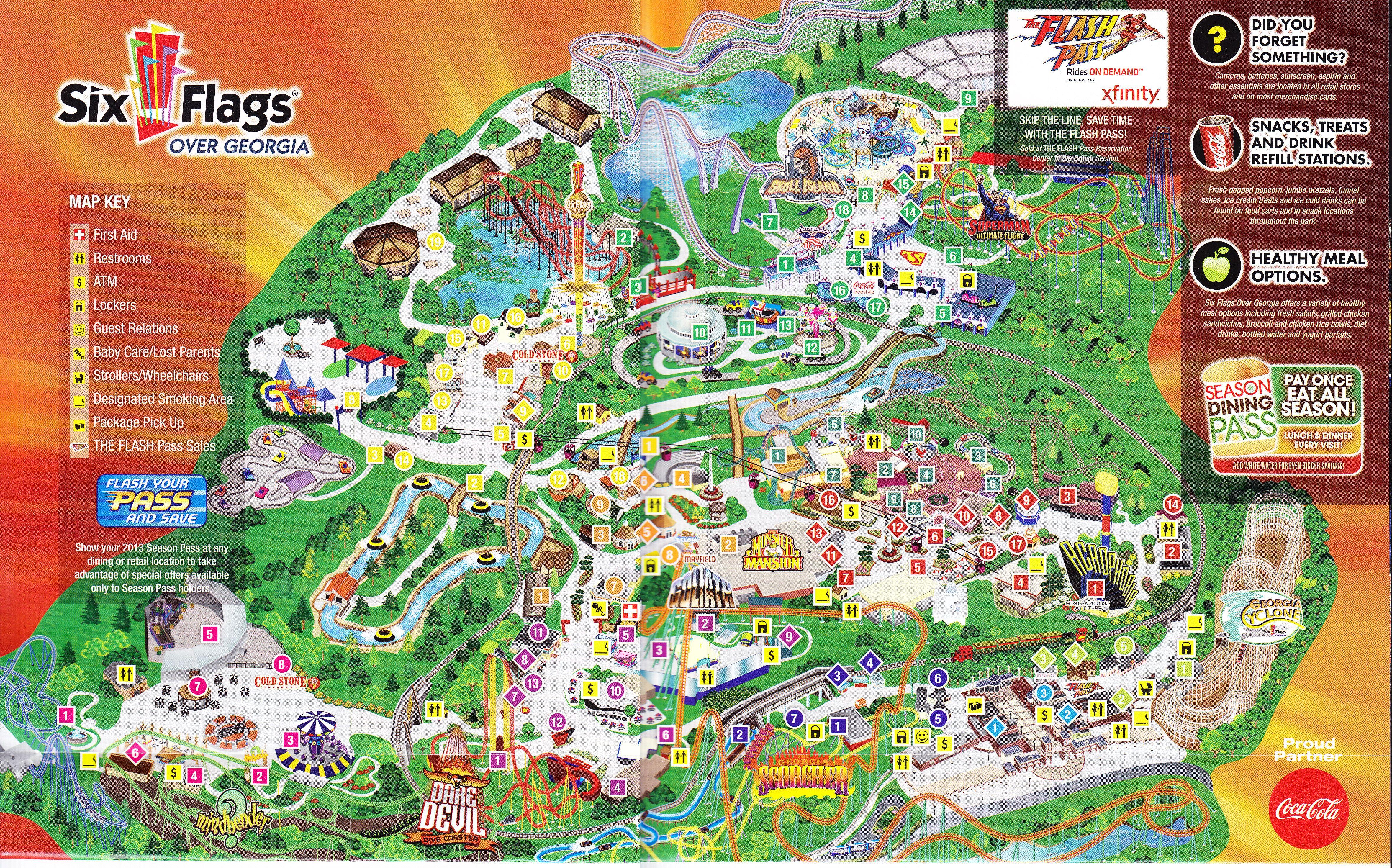 Six Flags Over Georgia Theme Park Map Theme Park Amusement Park