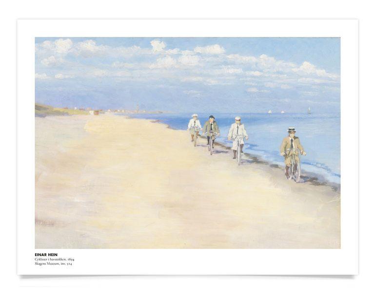 Plakat<br>Einar Hein<br>Cyklister i havstokken : vis