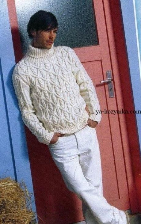 Красивый мужской свитер спицами схема. Вязание спицами для ...