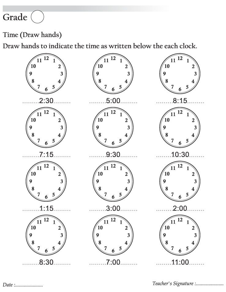 Draw hands to indicate the time as written below the each clock - time worksheets