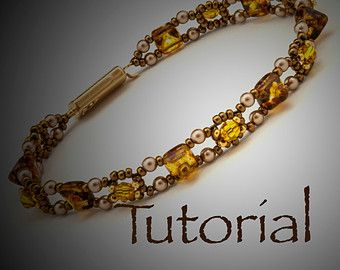 Seed Bead and Rivoli Bracelet Pattern Classical by JewelryTales