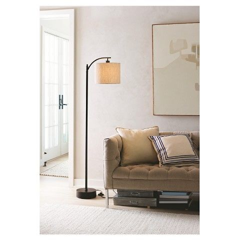 Lamp Shades At Target One 100 Watt Threshold™ Black Downbridge Floor Lamp With Tan