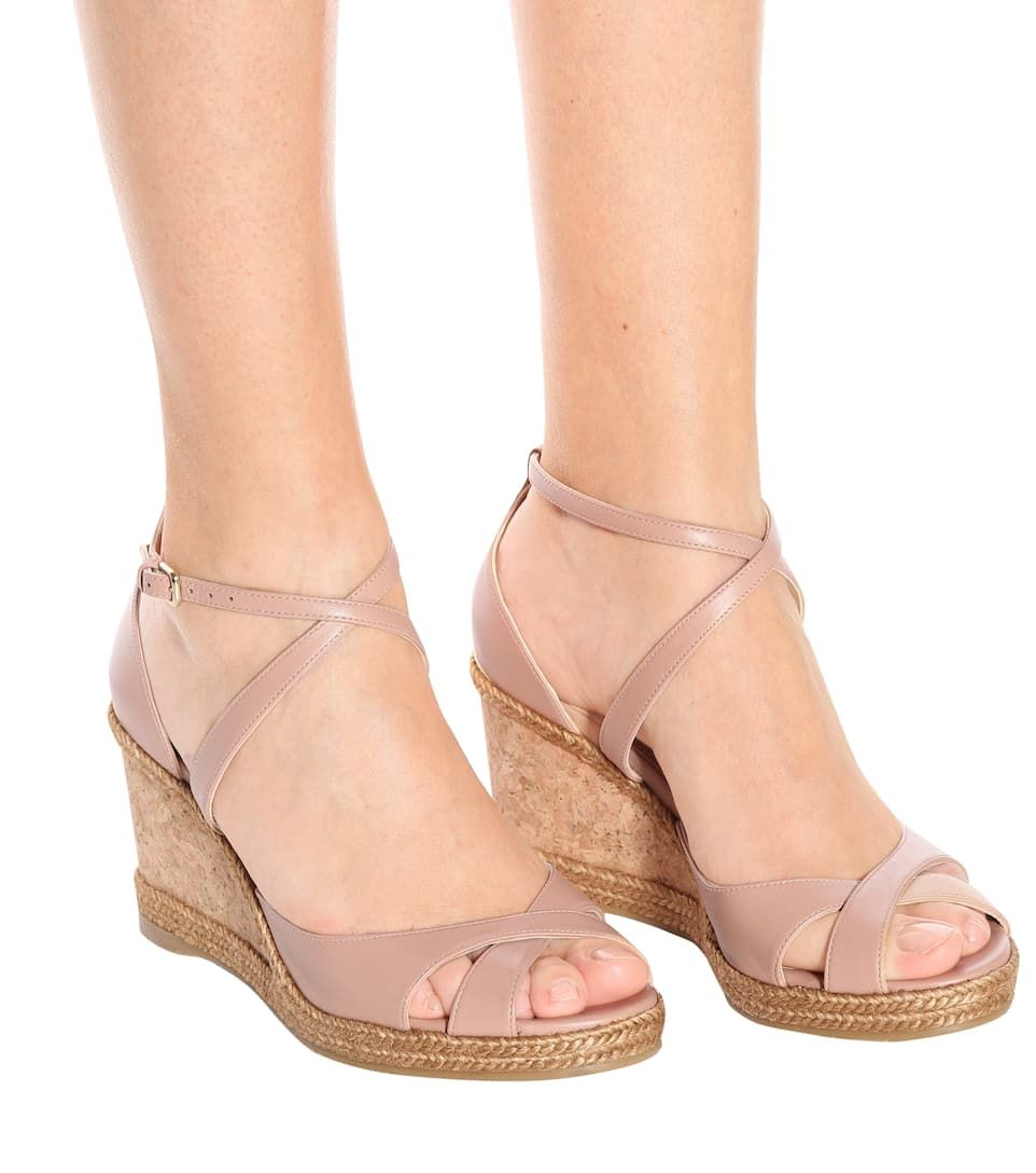 Alanah 80 Leather Wedge Sandals - Jimmy
