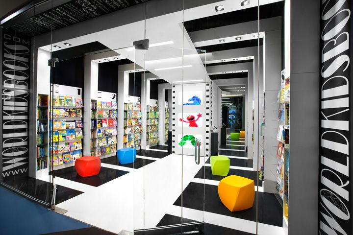 Children's book store using porcelain white and black ...