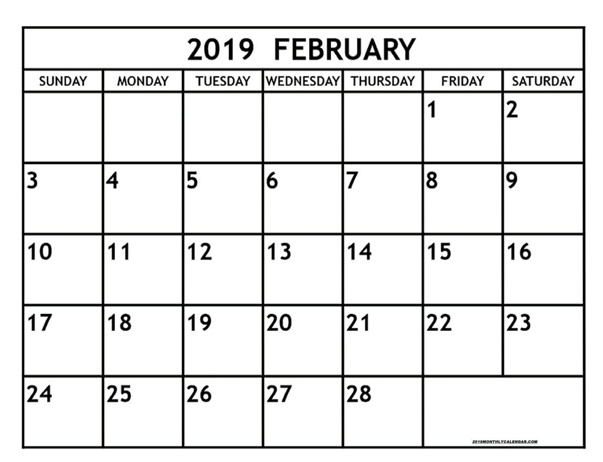 February Month Calendar 2019 February Month Calendar 2019 Printable | Free Printable Monthly